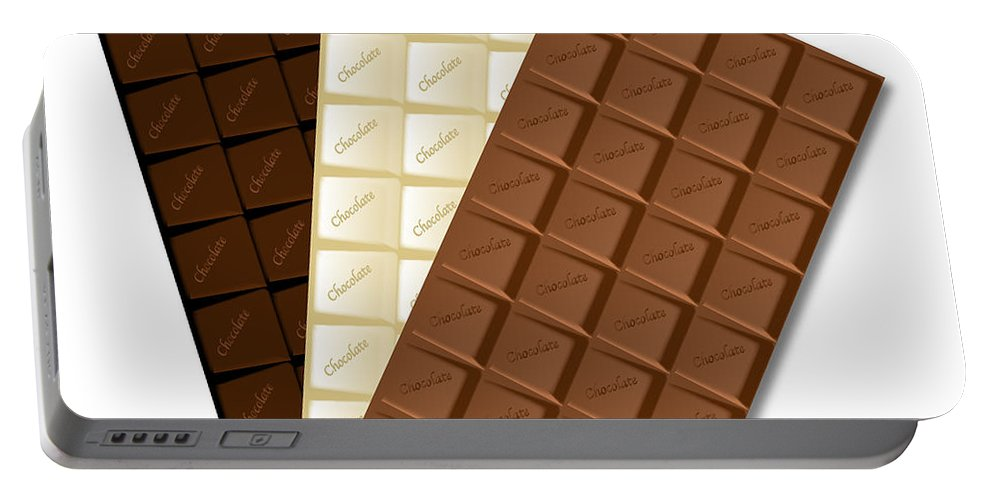 Chocolate Portable Battery Charger featuring the digital art White Chocolate Bar by Bigalbaloo Stock