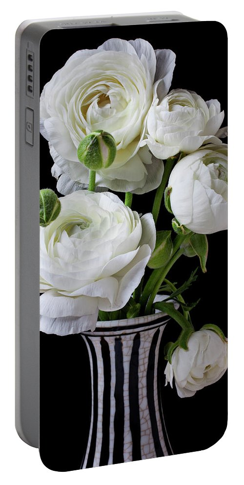 White Ranunculus Flower Vase Floral Portable Battery Charger featuring the photograph White Ranunculus In Black And White Vase by Garry Gay