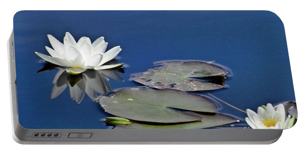 Water Llilies Portable Battery Charger featuring the photograph White Water Lily by Heiko Koehrer-Wagner