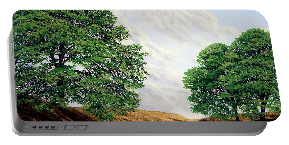 Windblown Clouds Portable Battery Charger featuring the painting Windblown Clouds by Frank Wilson