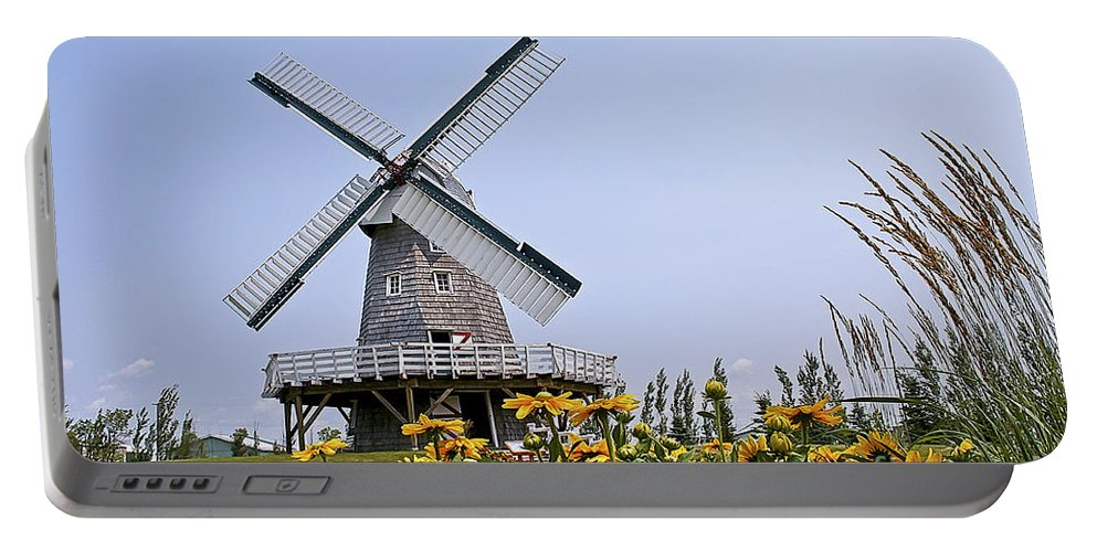 Windmill Portable Battery Charger featuring the photograph Windmill by Teresa Zieba