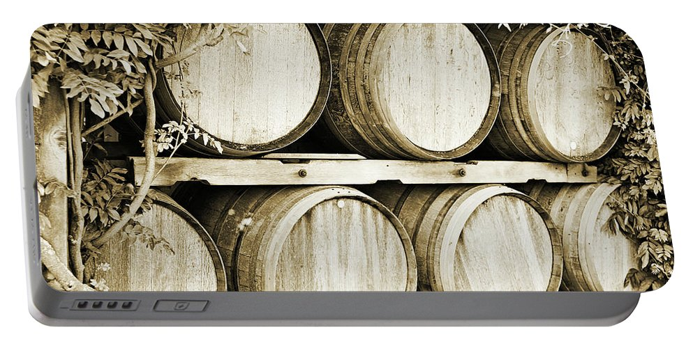 Wine Portable Battery Charger featuring the photograph Wine Barrels by Scott Pellegrin