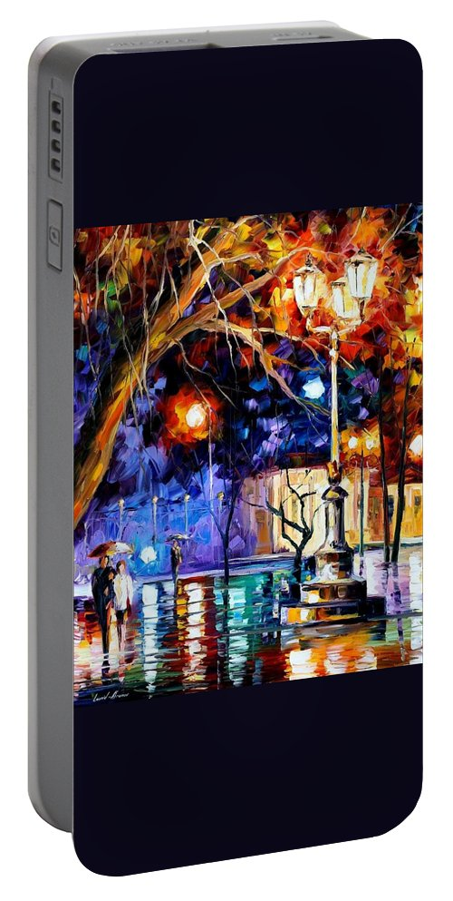 Afremov Portable Battery Charger featuring the painting Winter Rain by Leonid Afremov