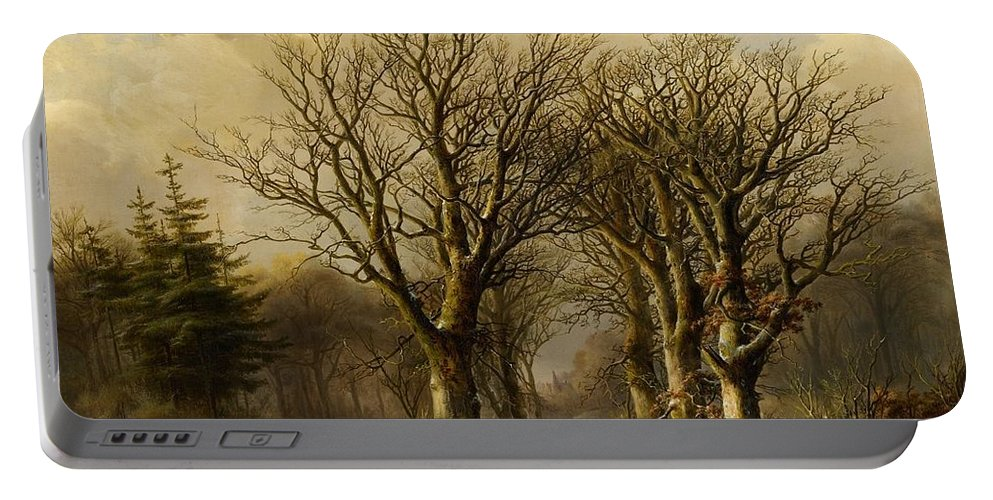 Johann Bernhard Klombeck Portable Battery Charger featuring the painting Winter Scene In Reichswald by MotionAge Designs