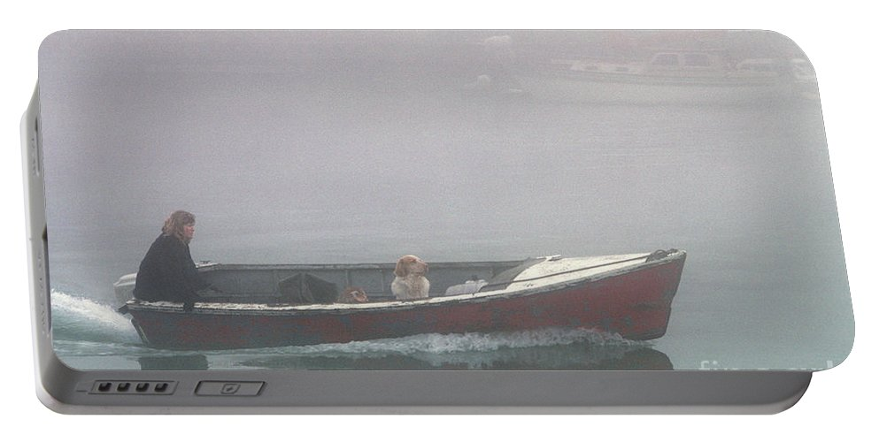 Landscape Portable Battery Charger featuring the photograph Woman And Dog In Boat by Jim Corwin