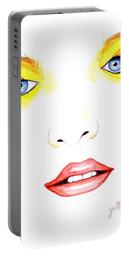 Woman Face Portable Battery Charger featuring the painting Woman Scent Watercolor Painting by Georgeta Blanaru