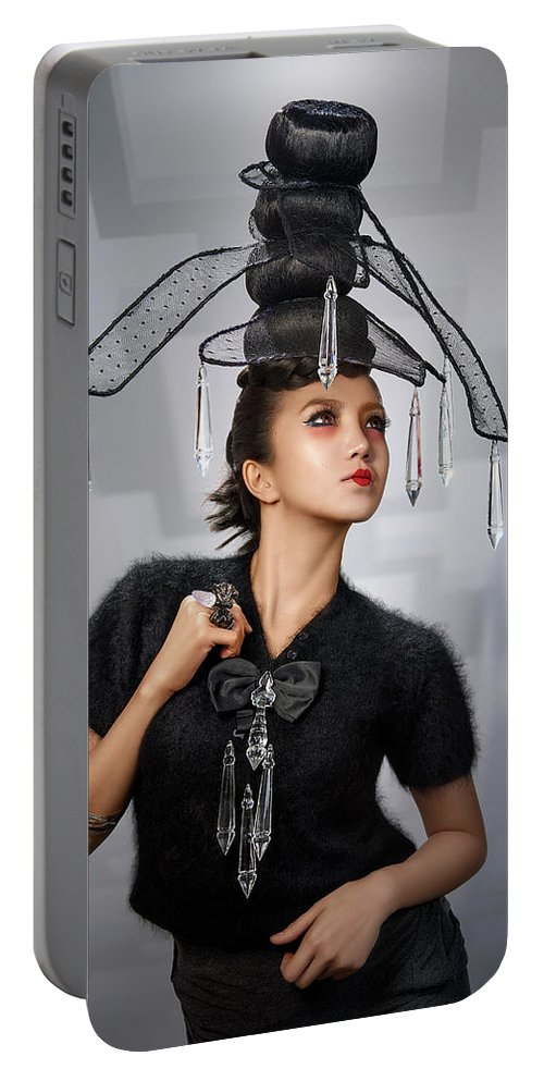 Chandelier Headdress Portable Battery Charger featuring the photograph Woman With Chandelier Headdress by Erich Caparas
