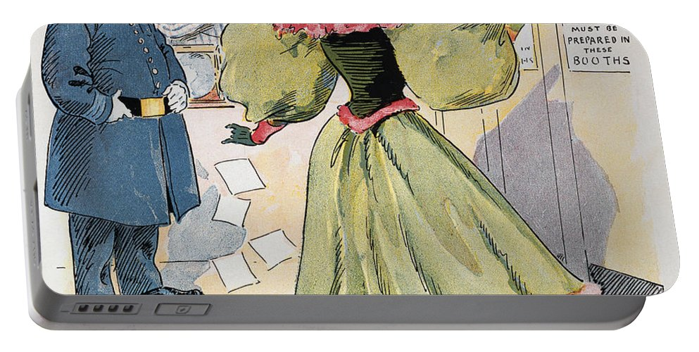 1894 Portable Battery Charger featuring the photograph Womens Rights Cartoon by Granger