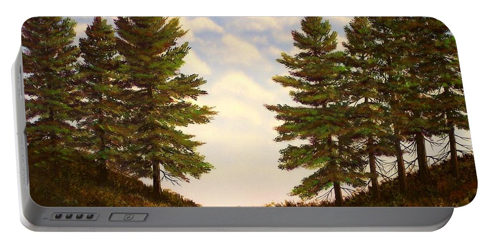 Wooded Path Portable Battery Charger featuring the painting Wooded Path by Frank Wilson