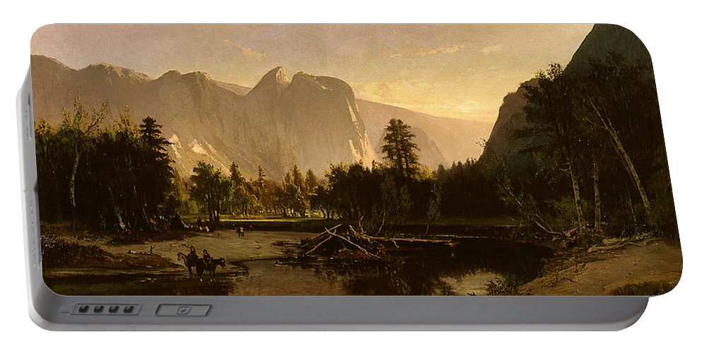 Yosemite Valley By William Keith Portable Battery Charger featuring the painting Yosemite Valley by William Keith