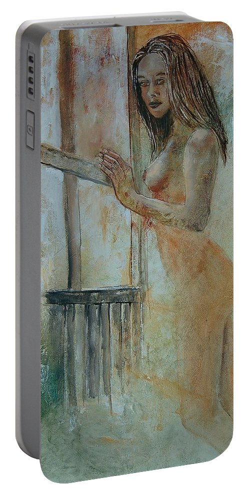 Gir Portable Battery Charger featuring the painting Young Girl 57905062 by Pol Ledent