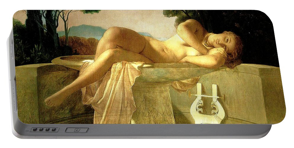Paul Delaroche Portable Battery Charger featuring the painting Girl In A Fountain Basin by Paul Delaroche