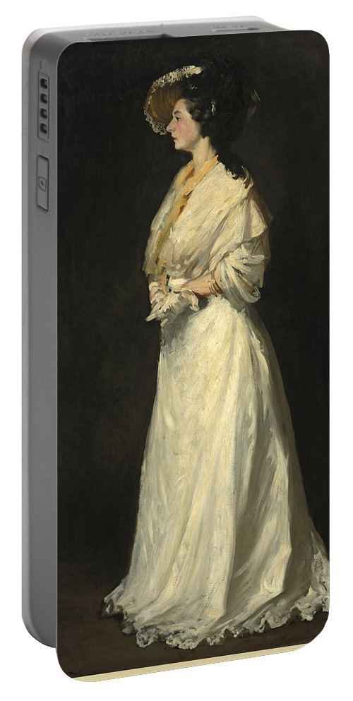 Young Woman In White By Robert Henri Portable Battery Charger featuring the painting Young Woman In White by Robert Henri