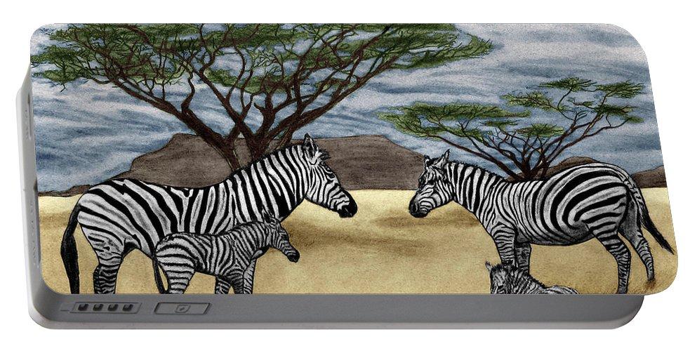 Zebra African Outback Portable Battery Charger featuring the drawing Zebra African Outback by Peter Piatt