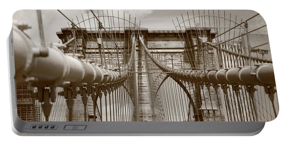 America Portable Battery Charger featuring the photograph Brooklyn Bridge - New York City by Frank Romeo