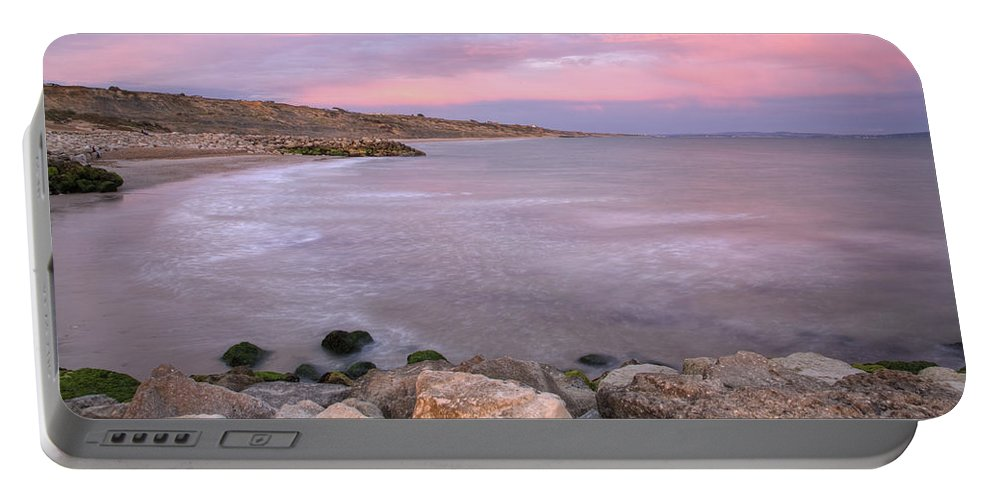 Highcliffe Portable Battery Charger featuring the photograph Highcliffe Beach In Dorset by Ian Middleton