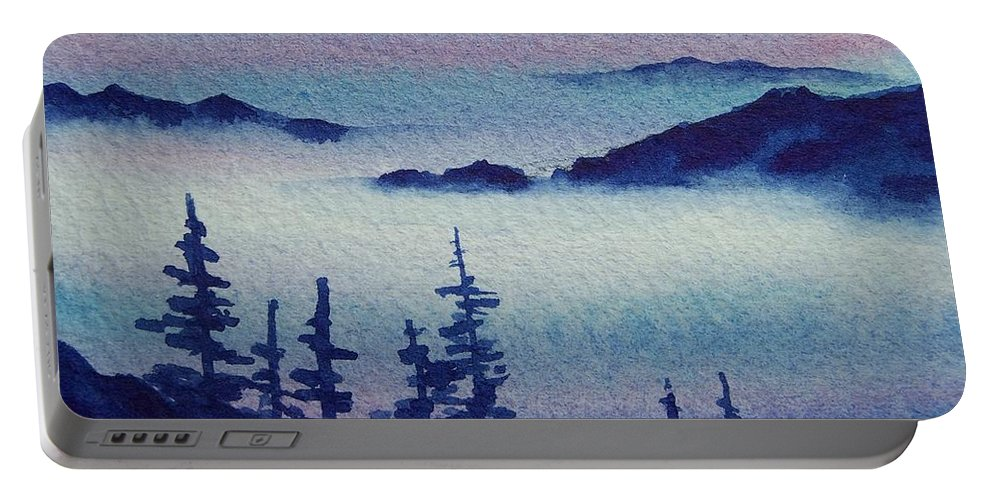 Landscape Portable Battery Charger featuring the painting 10 Mile Overlook by Conni Reinecke