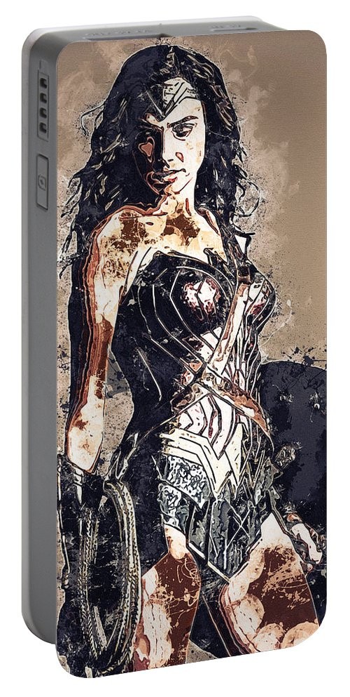 Batman Portable Battery Charger featuring the digital art Wonder Woman by Nadezhda Zhuravleva