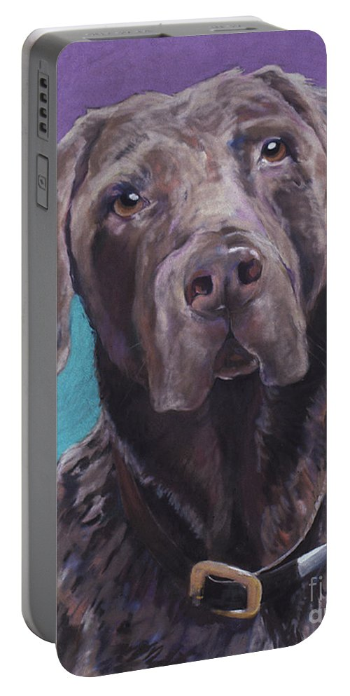 Pet Portrait Commissions Portable Battery Charger featuring the pastel 100 Lbs. Of Chocolate Love by Pat Saunders-White