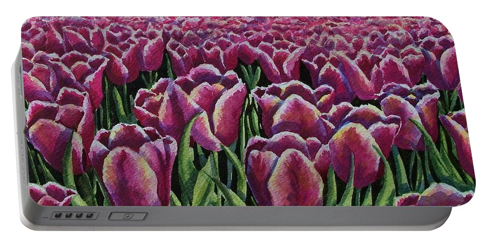 Tulips Portable Battery Charger featuring the painting 1000 Tulpis by Conni Reinecke