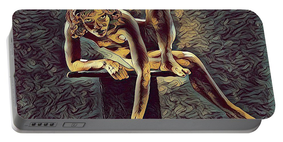 Fine Art Nude Portable Battery Charger featuring the digital art 1003s-zac Necklace Of Bones Held By Beautiful Nude Dancer by Chris Maher