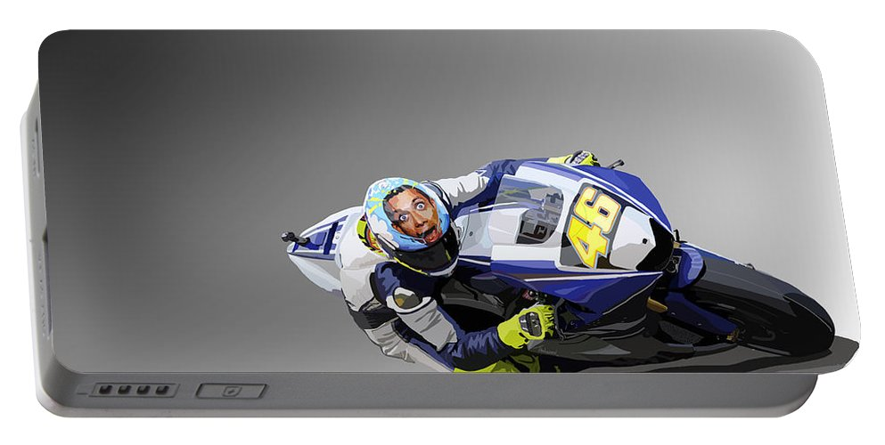 Motorbike Portable Battery Charger featuring the digital art 102. No. 46 by Tam Hazlewood