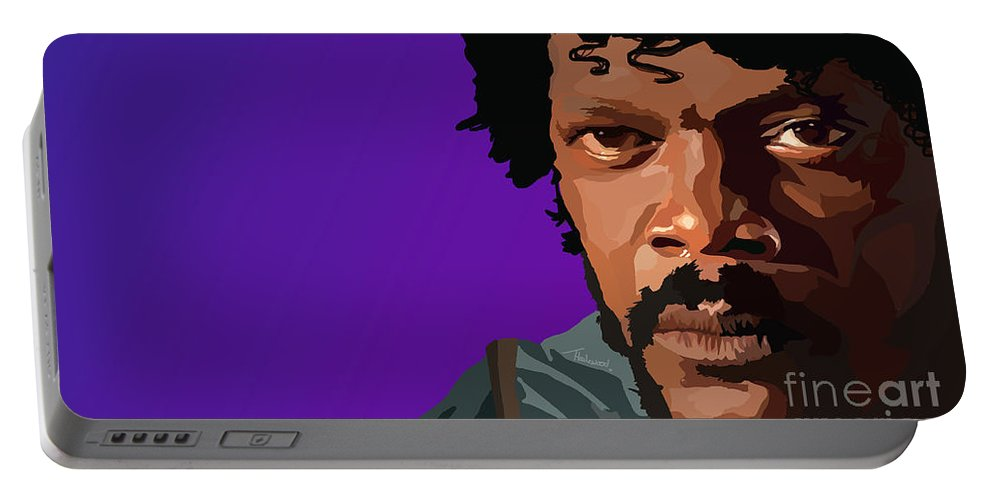 Pulp Fiction Portable Battery Charger featuring the digital art 105. Bad Mf by Tam Hazlewood