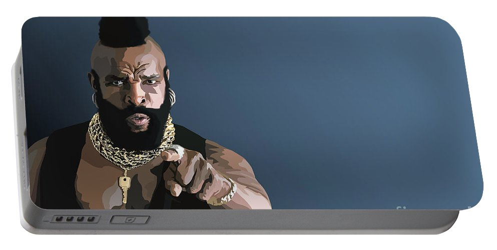 Mr T Portable Battery Charger featuring the digital art 107. Pity The Fool by Tam Hazlewood