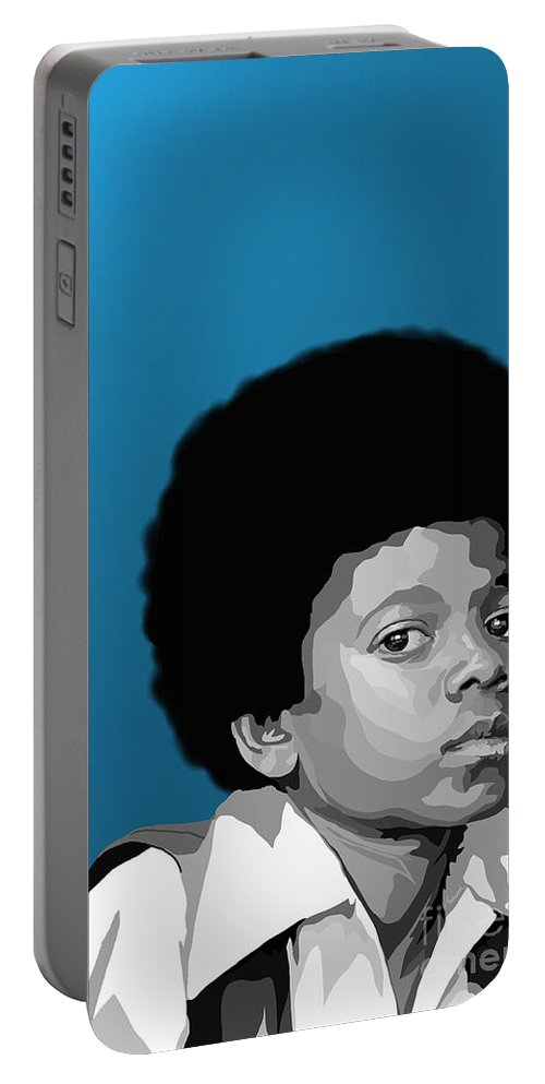 Micheal Jackson Portable Battery Charger featuring the digital art 108. Easy As 123 by Tam Hazlewood