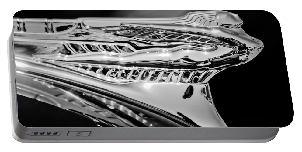 1946 Desoto Portable Battery Charger featuring the photograph 1946 Desoto Hood Ornament -169bw by Jill Reger