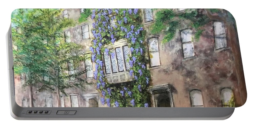 New York City Portable Battery Charger featuring the painting 10th Street Wisteria by Diane Donati