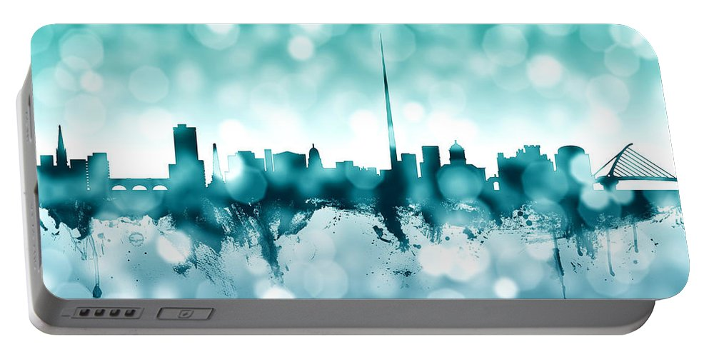 City Portable Battery Charger featuring the digital art Dublin Ireland Skyline by Michael Tompsett