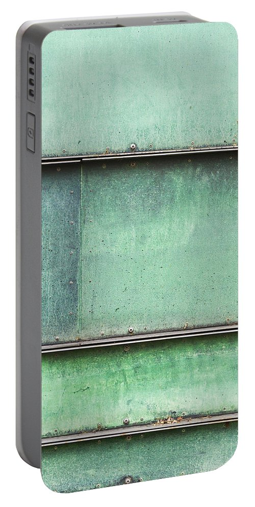 Abstract Portable Battery Charger featuring the photograph Green Metal by Tom Gowanlock