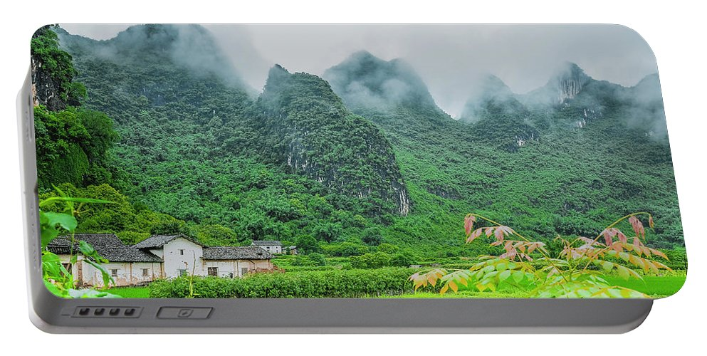 Countryside Portable Battery Charger featuring the photograph Karst Mountains Rural Scenery by Carl Ning