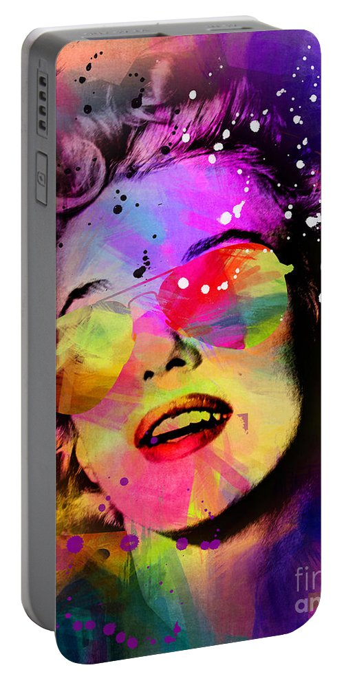 Pop Art Portable Battery Charger featuring the painting Marilyn Monroe by Mark Ashkenazi