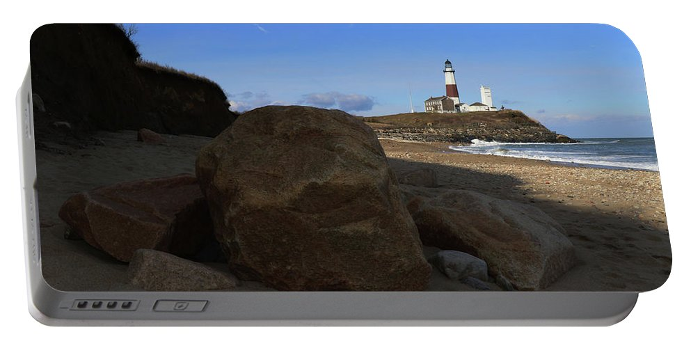 Montauk Point Lighthouse Portable Battery Charger featuring the photograph Montauk Point Lighthouse Montauk New York by Bob Savage