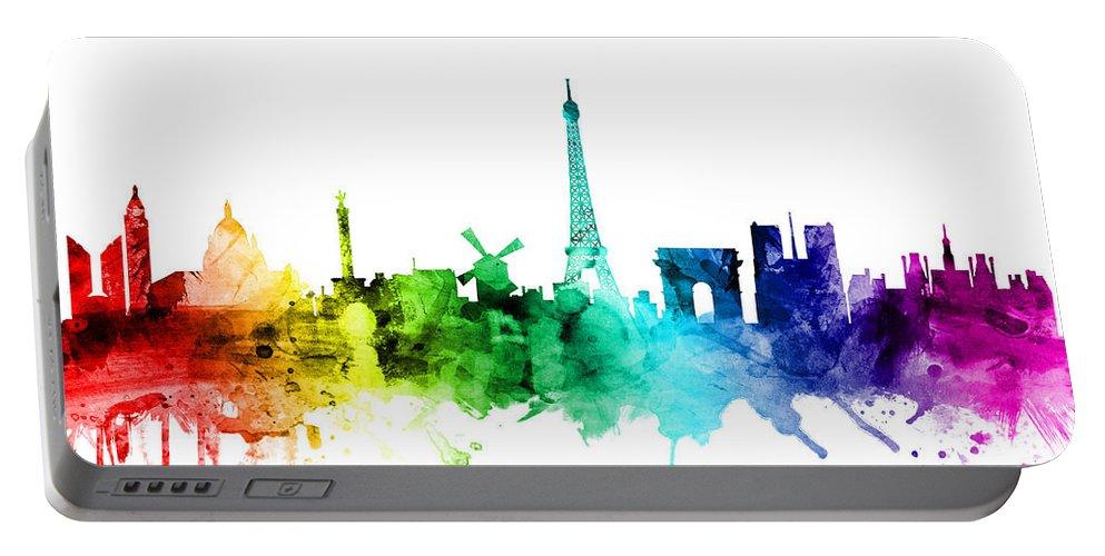 Paris Portable Battery Charger featuring the digital art Paris France Skyline by Michael Tompsett