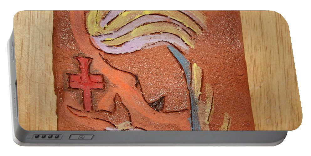 Jesus Portable Battery Charger featuring the ceramic art Sign - Tile by Gloria Ssali
