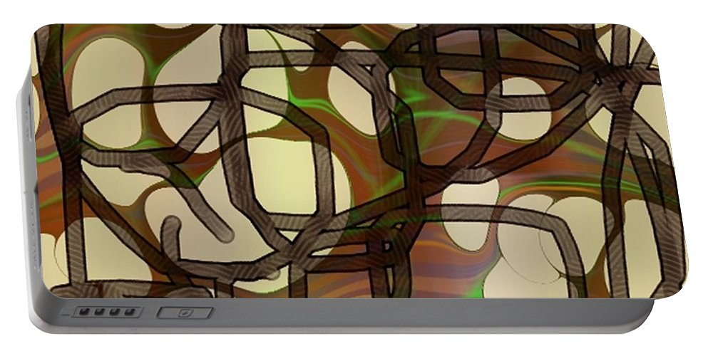 Abstract Art Portable Battery Charger featuring the digital art 1197exp3 by Ron Bissett