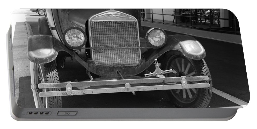 Black And White Portable Battery Charger featuring the photograph 1926 Model T Ford by Rob Hans