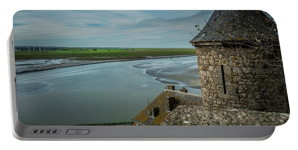 Water Portable Battery Charger featuring the photograph Le Mont Saint Michel by Jason Steele