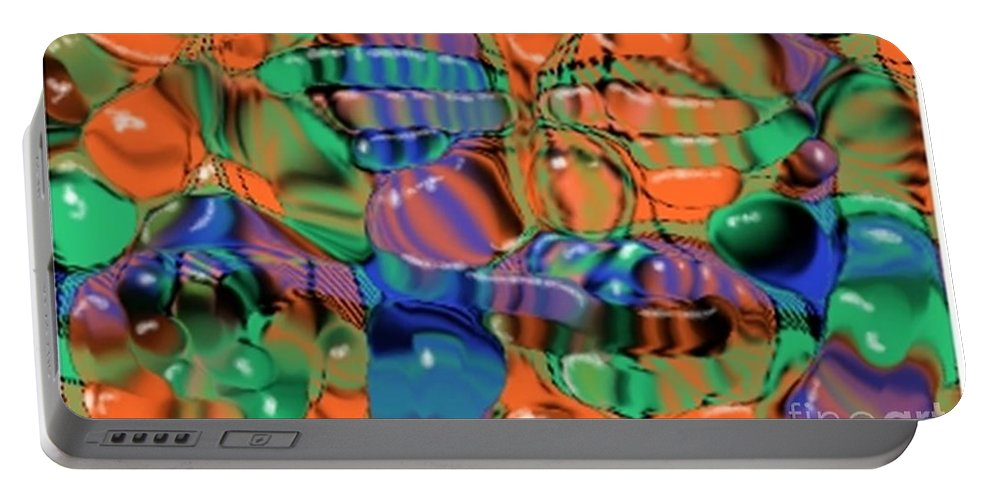 Abstract Portable Battery Charger featuring the digital art 1297exp1 by Ron Bissett