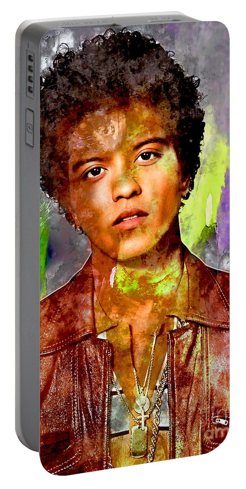 Bruno Mars Portable Battery Charger featuring the mixed media Bruno Mars by Marvin Blaine