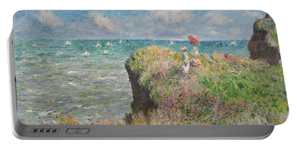 Cliff Walk At Pourville Claude Monet Portable Battery Charger featuring the painting Cliff Walk At Pourville by Claude Monet