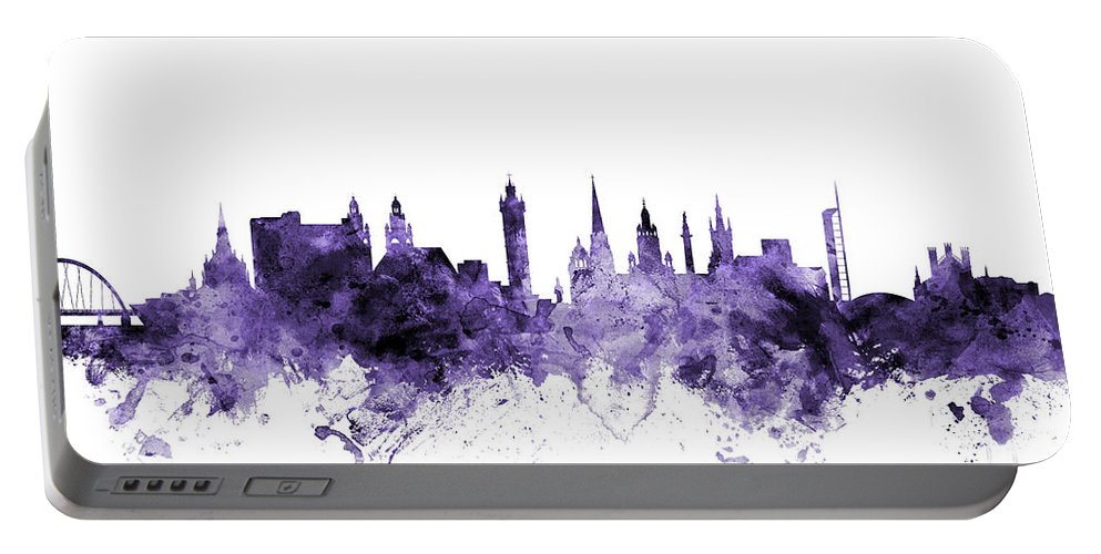 Skyline Portable Battery Charger featuring the digital art Glasgow Scotland Skyline by Michael Tompsett