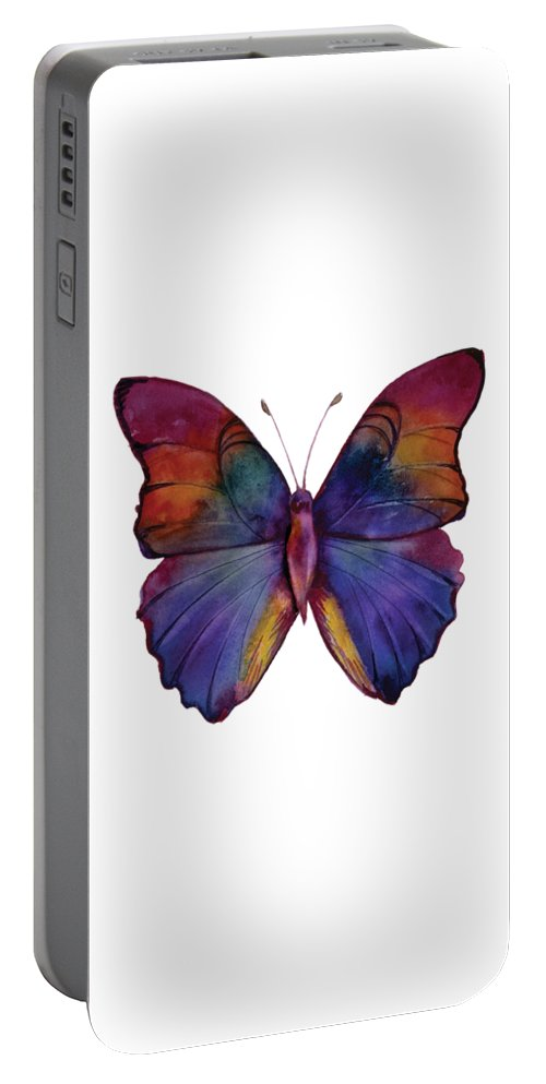 Red Portable Battery Charger featuring the painting 13 Narcissus Butterfly by Amy Kirkpatrick