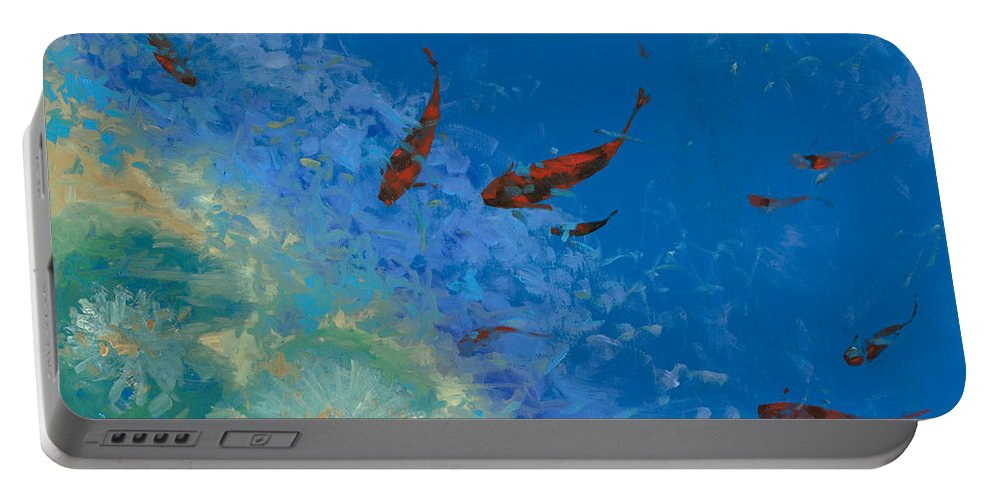 Fishscape Portable Battery Charger featuring the painting 13 Pesciolini Rossi by Guido Borelli