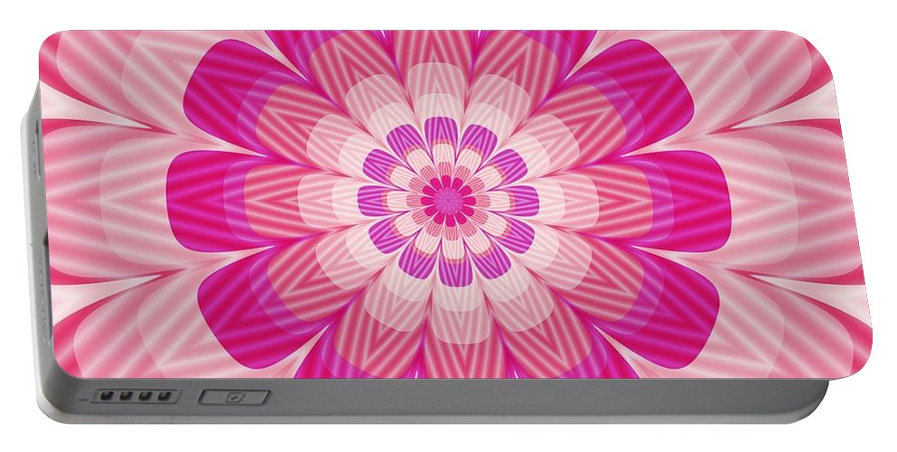 Psycho Portable Battery Charger featuring the digital art Psycho Hypno Floral Pattern by Miroslav Nemecek