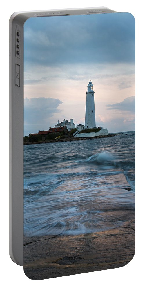 Whitley Portable Battery Charger featuring the photograph Saint Mary's Lighthouse At Whitley Bay by Ian Middleton