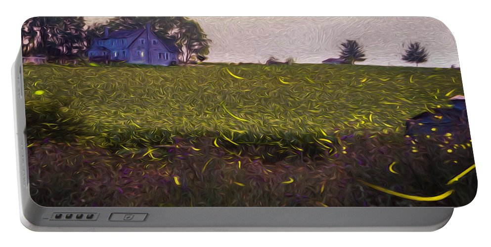 Fireflies Portable Battery Charger featuring the photograph 1300 - Fireflies Impression Version by Seth Dochter